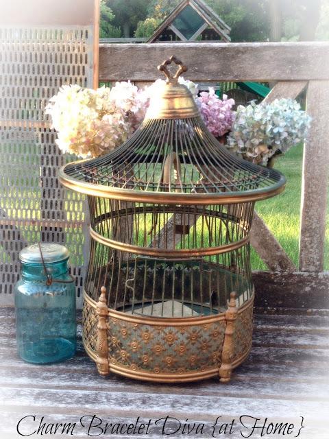 vintage A.B. Hendryx brass art deco pagoda bird cage