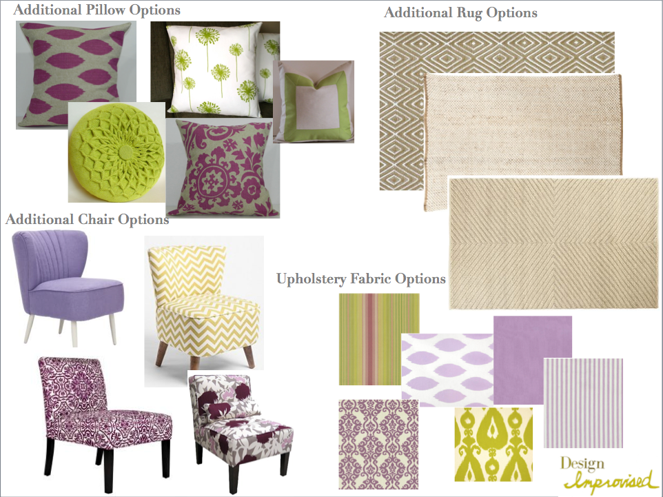 Lisa 39 s sunny living room mood board design improvised for Purple and green living room ideas
