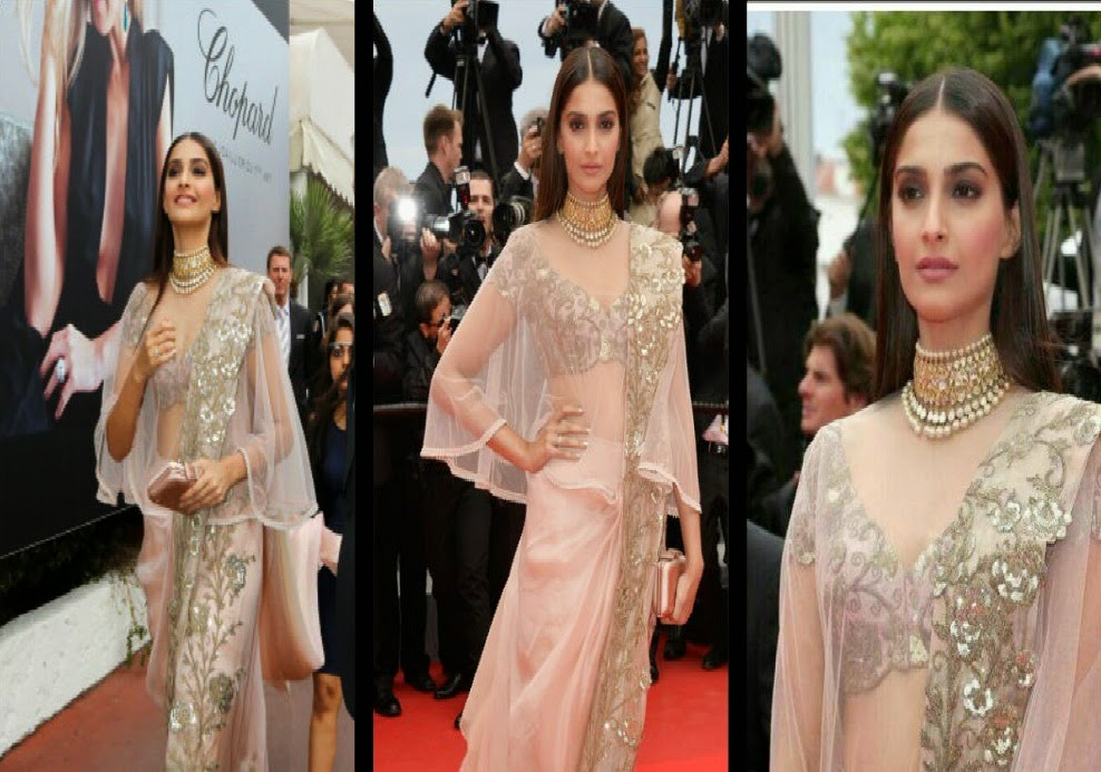 Sonam Kapoor Gorgeous in light pink transparent Saree  at 'Foxcatcher Premiere'