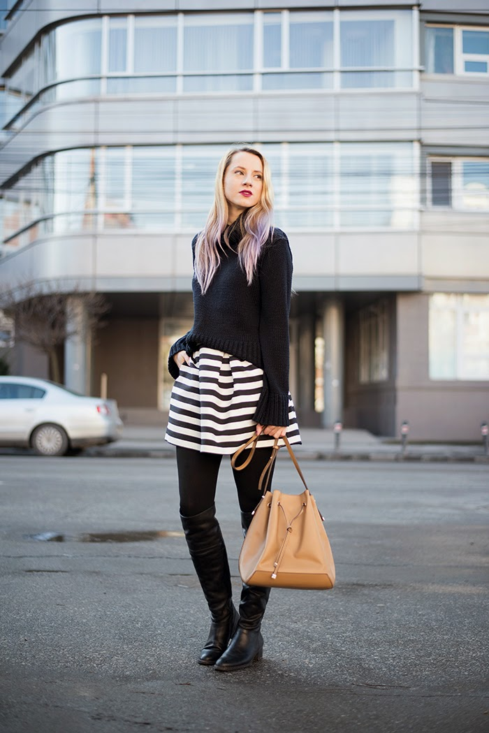 thrifted cowl neck sweater stripped skirt H&M over the knee boots mango bucket bag