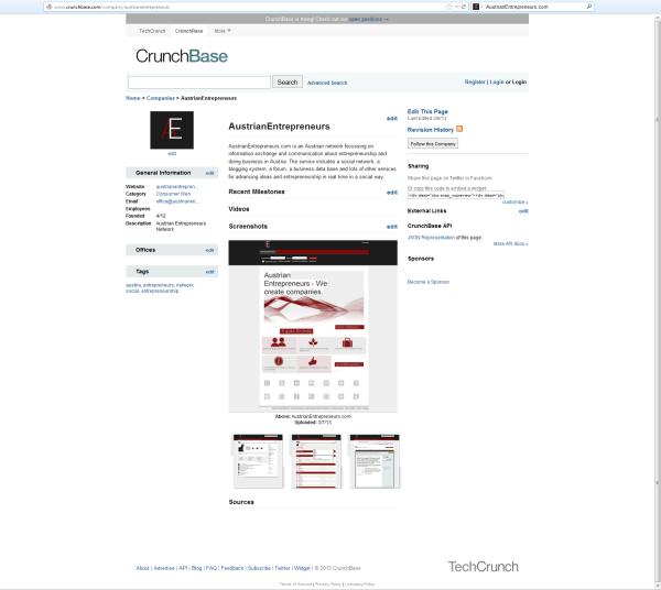 AustrianEntrepreneurs.com auf CrunchBase.com