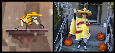 yellow skeleton, side-by-side pics, game and costume