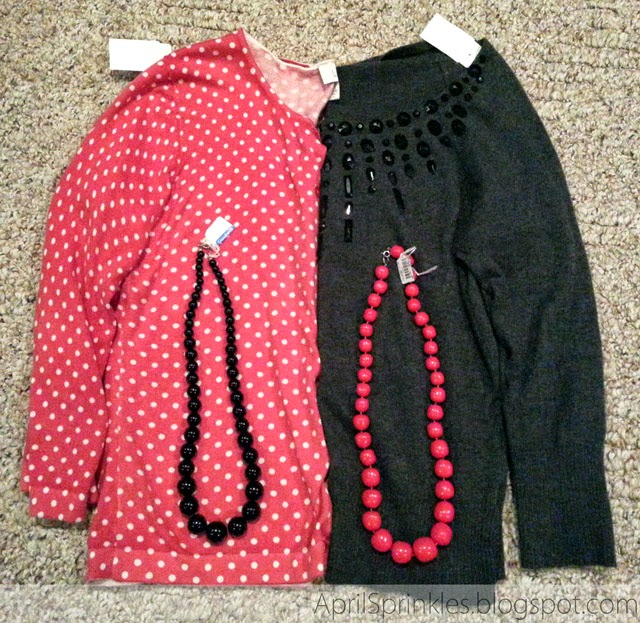 Sweaters and necklaces thrifted (April Sprinkles)