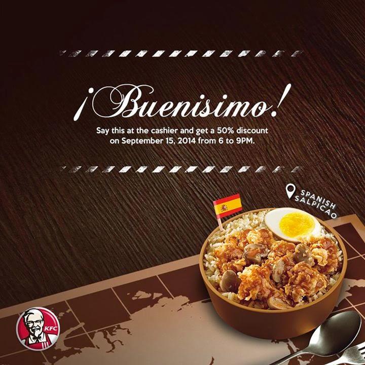 KFC Buenisimo 50% off Promo Sept 15 2014 | Pamurahan - Your Ultimate ...