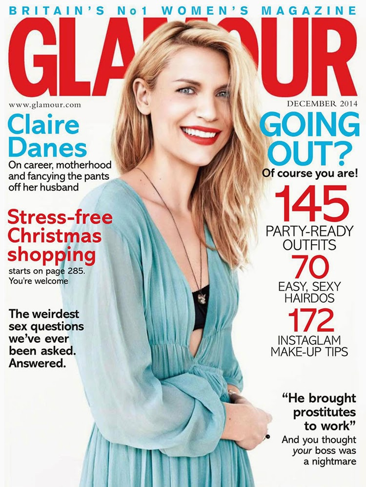 Claire Danes cover Glamour UK December 2014 by Damon Baker