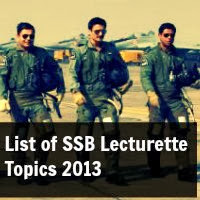 List of SSB Lecturette Topics 2013