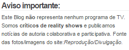 Aviso do Blog BBB18