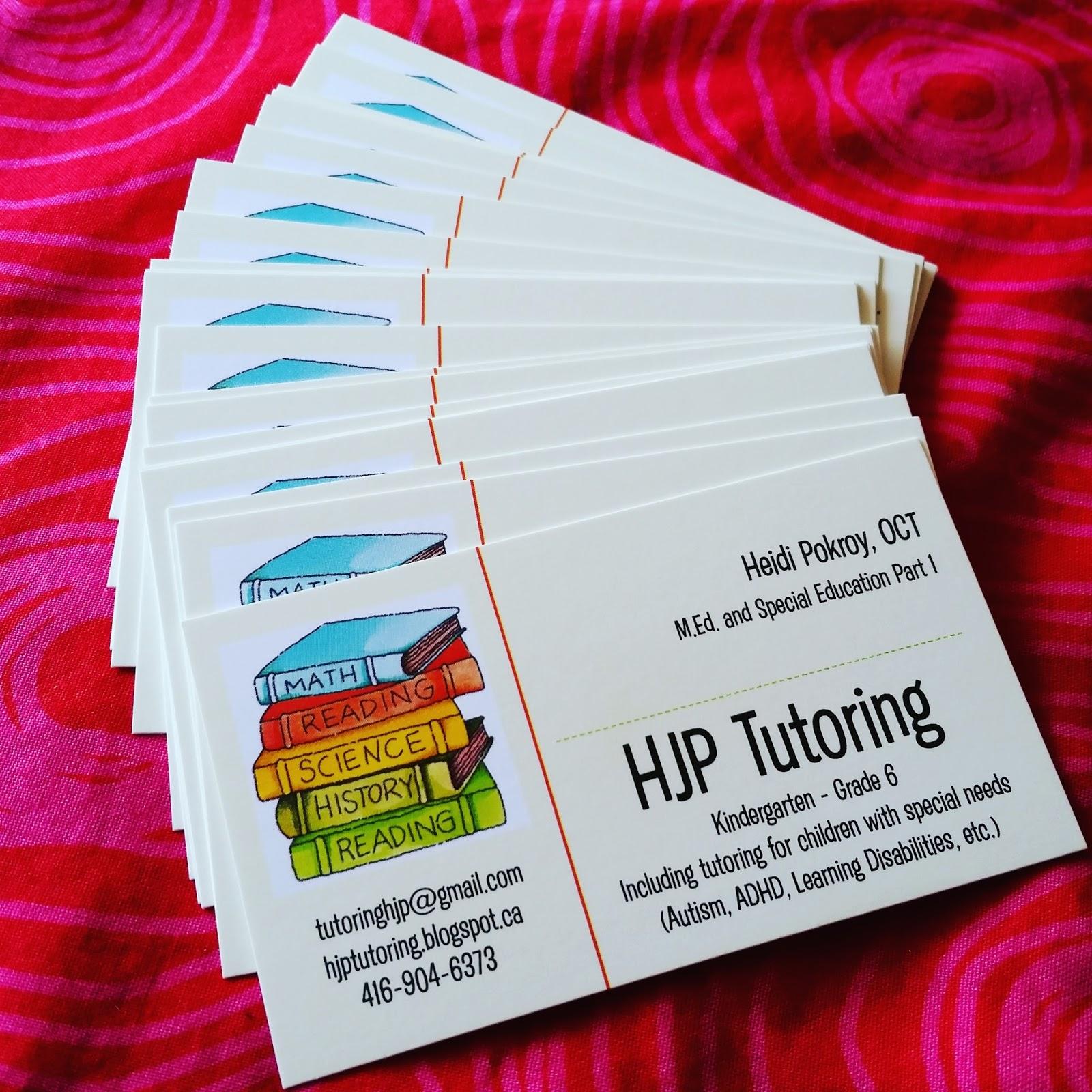 HJP Tutoring: New Business Cards Have Arrived!!!!
