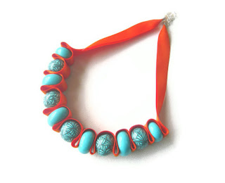 Turquoise & Orange Ribbon Necklace handmade from polymer clay by Lottie Of London