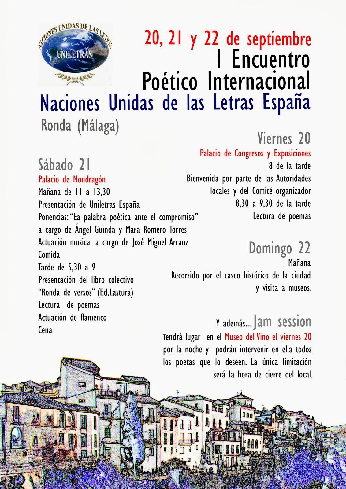I ENCUENTRO POÉTICO INTERNACIONAL NACIONES UNIDAS DE LAS LETRAS ESPAÑA.