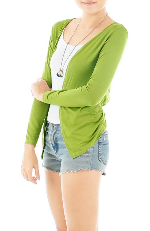 ESSENTIAL Open Cardigan with Pleat Drape Sides – Apple Green