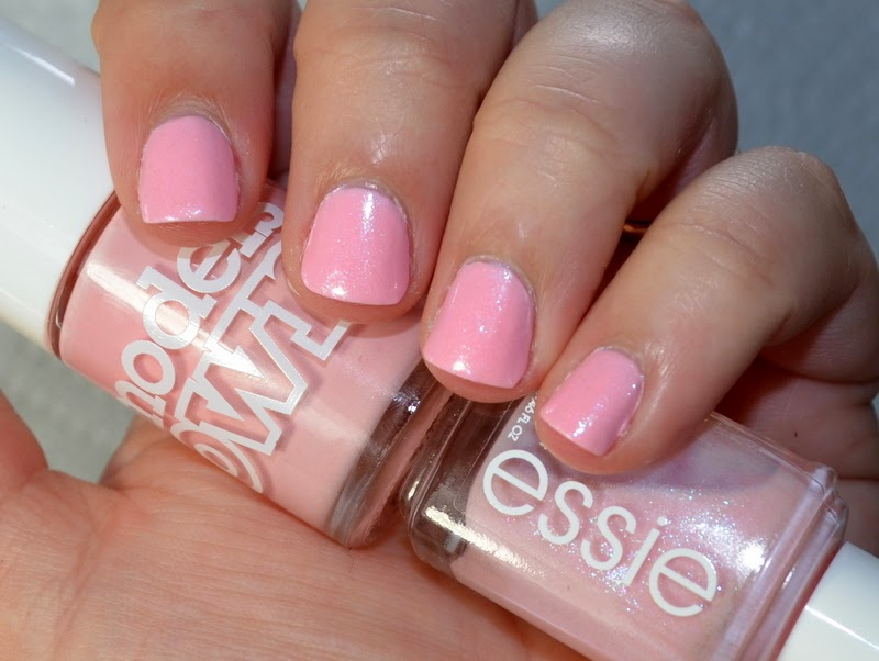 Essie Pink-A-Boo over Models Own Pastel Pink