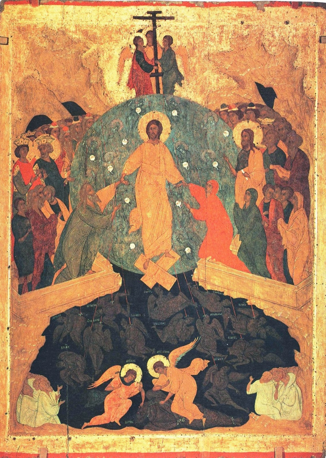 """Descent into Hell by Dionisius and workshop (Ferapontov monastery)"" by Moscow school, Dionysius and his workshop - File:Descent into hell-Russian Museum.jpg. Licensed under Public Domain via Wikimedia Commons - http://commons.wikimedia.org/wiki/File:Descent_into_Hell_by_Dionisius_and_workshop_(Ferapontov_monastery).jpg#/media/File:Descent_into_Hell_by_Dionisius_and_workshop_(Ferapontov_monastery).jpg"
