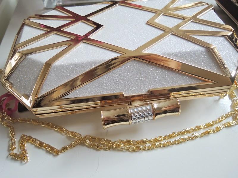 Gold Glitzer Clutch in Kastenform von Boohoo