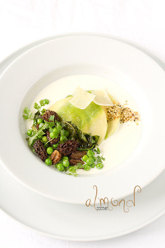 ... goat cheese sauce with morel-pea-dandelion ragout and roasted hemp