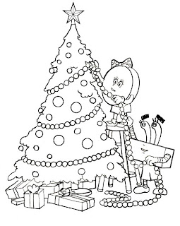 Coloring page picture of spongebob decorating x mas tree with baubles and lighting