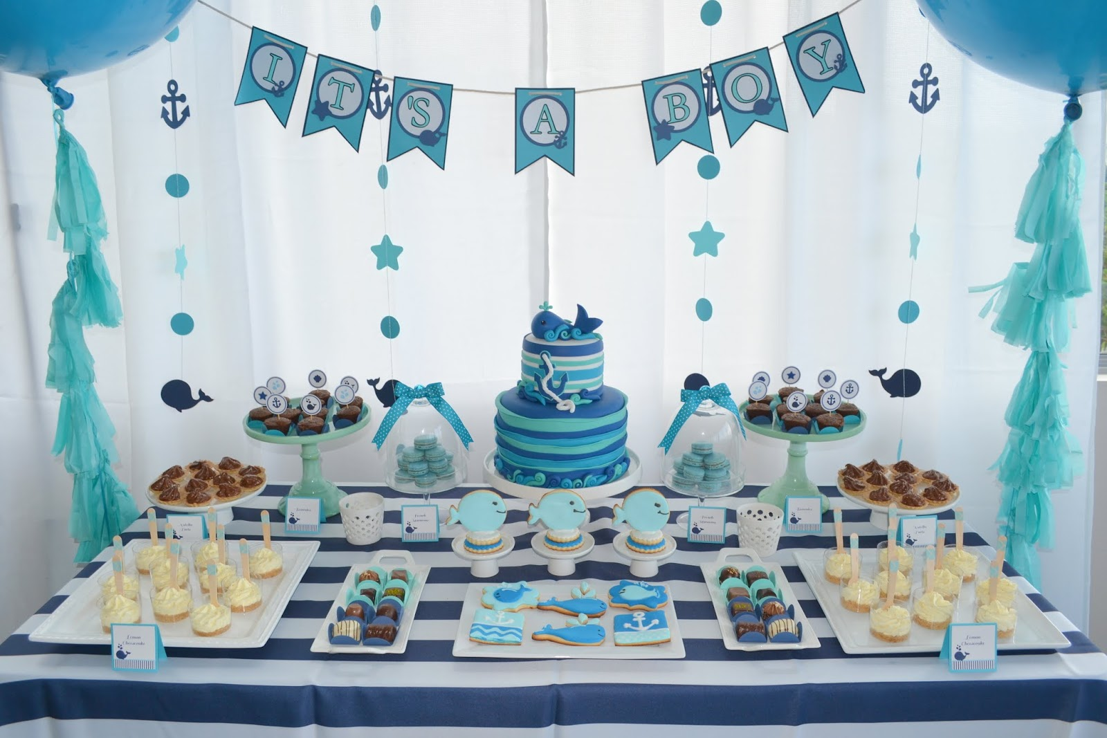 Partylicious events pr baby whale shower for Baby 1st birthday decoration