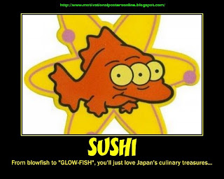 [sushi+fresh+blinky+the+simpson%2527s+three+3+eyed+fish+mutant+nuclear+radiation+food+motivational+posters+funny+hot]