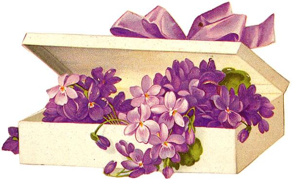 ArtbyJean - Vintage Clip Art: Box of violets