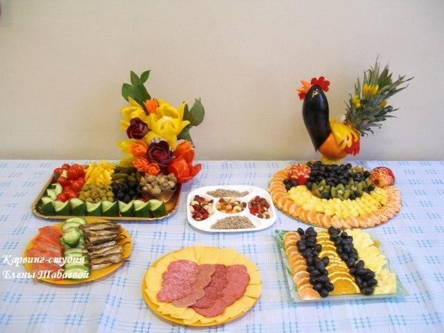 украшение стола фруктами и овощами