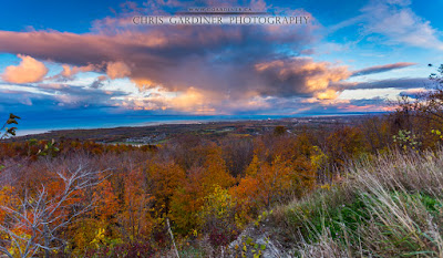 Scenic sunset from the top of blue mountain with colourful fall foliage captured by chris gardiner photography www.cgardiner.ca