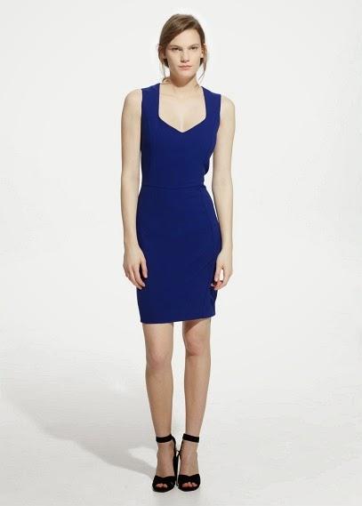 Mango 2015 Elbise Modelleri  mavi renk klasik kesim elbise, ofis elbisesi, gece elbisesi