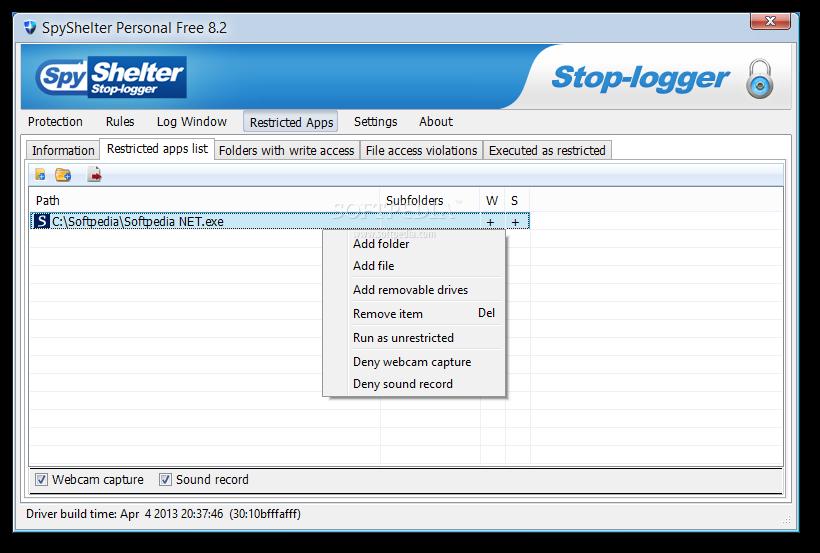 برنامج SpyShelter Free للحماية من ملفات التجسس