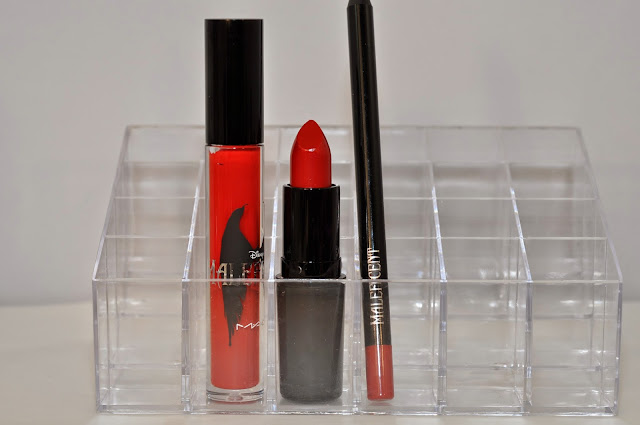 MAC Maleficent Anthurium Pro Longwear Lipglass, True Love's Kiss lipstick, Kiss Me Quick Pro Longwear Lip Pencil