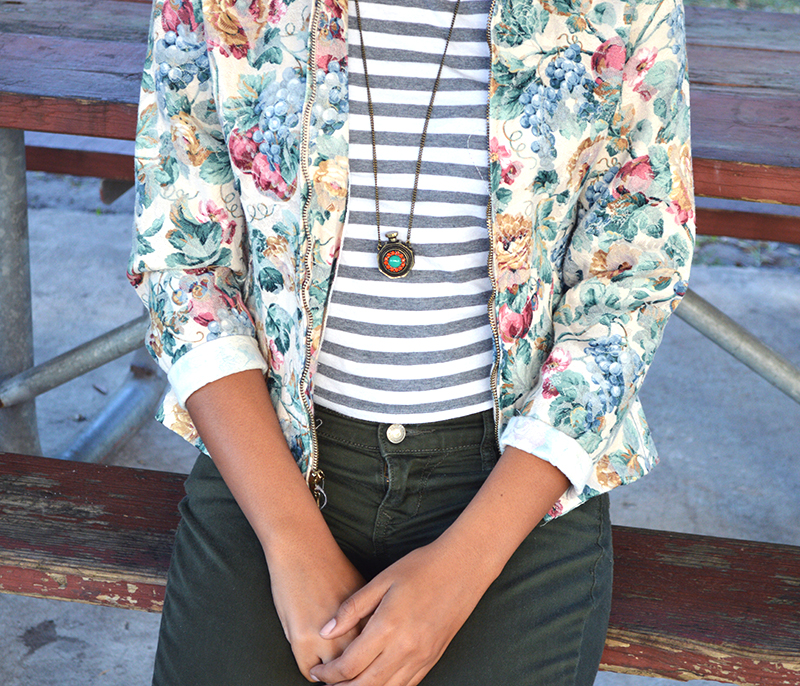 Fashion Blogger Anais Alexandre of Down to Stars in a Forever 21 striped top, Vintage fruit print jean jacket and Old Navy pants