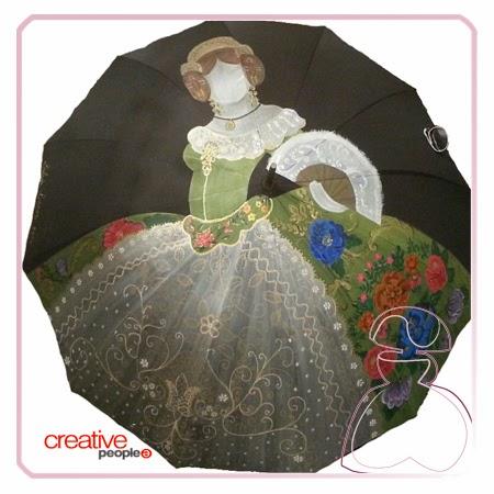 Fallera en paraguas pintado a mano por Sylvia Lopez Morant