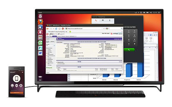 Smartphone com Ubuntu conectado há um monitor e teclado de PC