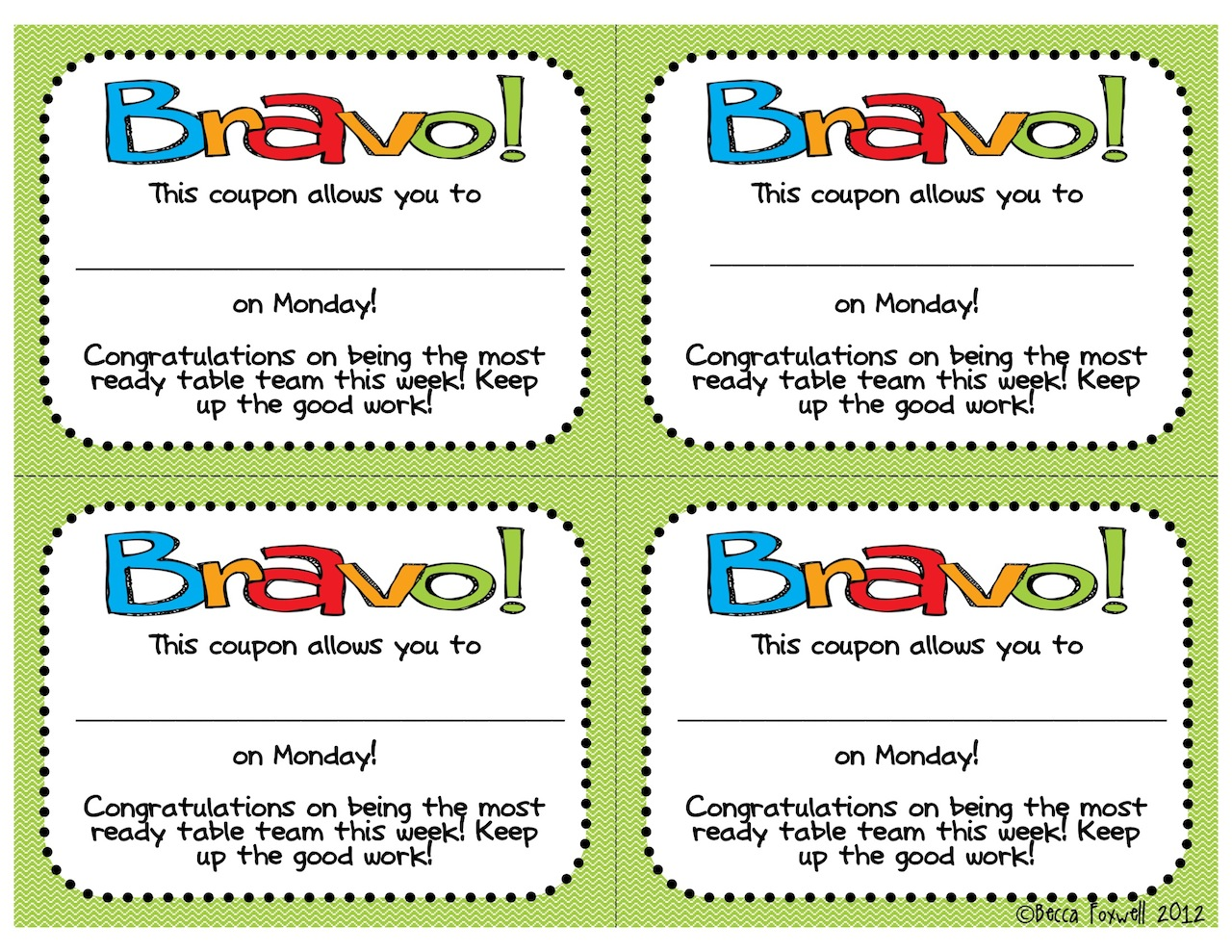 BRAVO Board and Reward Coupons FREEBIE {Classroom Management ...