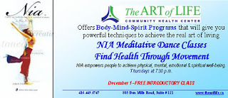 NIA meditative dance classes at the Art of Life Community Health Centre, Toronto