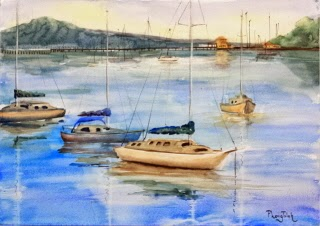Beautiful New Zealand Seaside Village Watercolor Painting on paper  size 29.5 x 42 cm