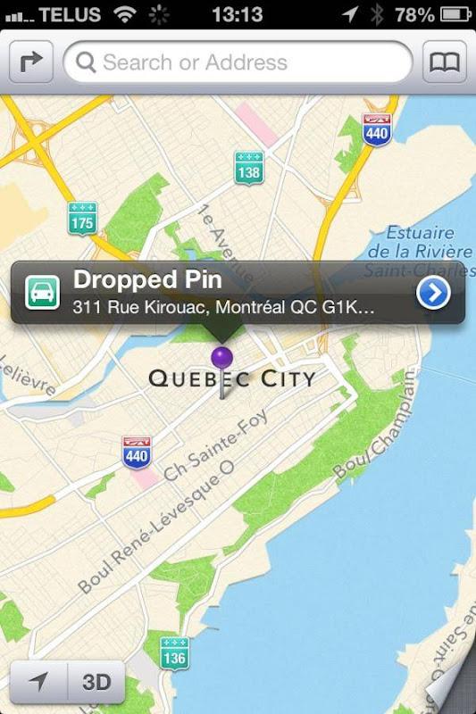 Adresse de Montréal à Québec