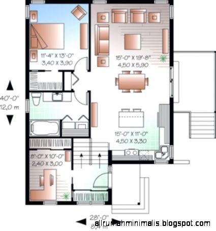 Gambar Denah Desain Rumah Minimalis Type 45 Yang Keren  Cara