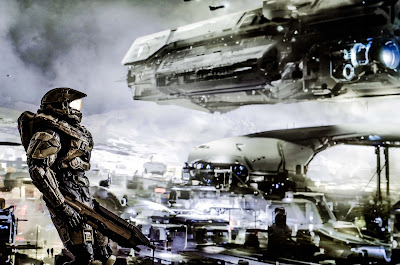 A space soldier in high tech armor and holding a blaster looks across a futuristic city.