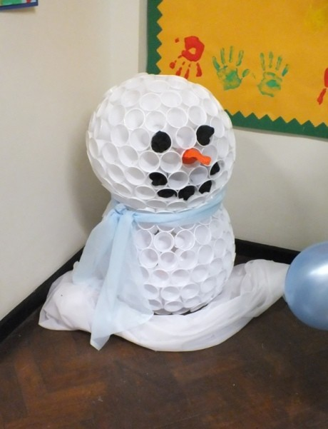 Plastic cup snowman craft diy cozy home