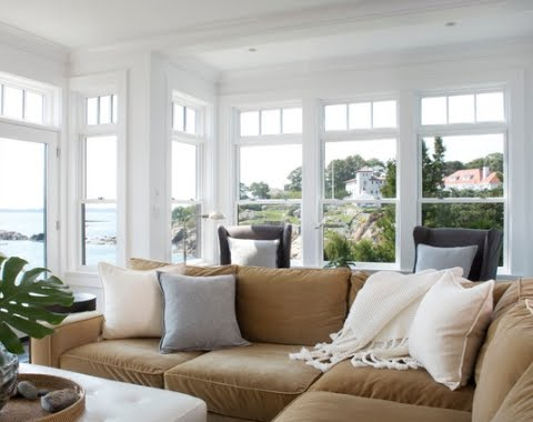 beige room with an ocean view