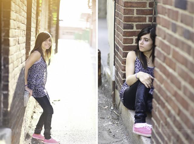 photos of a senior girl in an alley