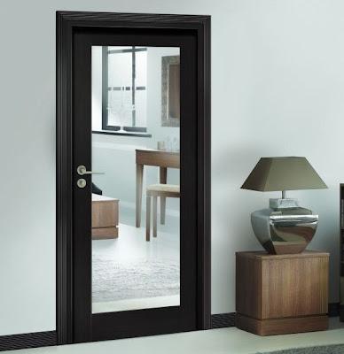Drzwi heban przeszklone z frezowana futryną / ościeżnicą