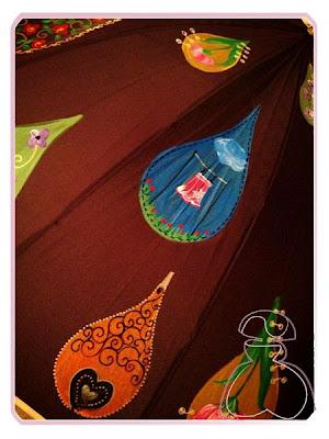 Detalle del paraguas modelo Gotas pintado a mano de El Jardín del Edén por Sylvia Lopez Morant.