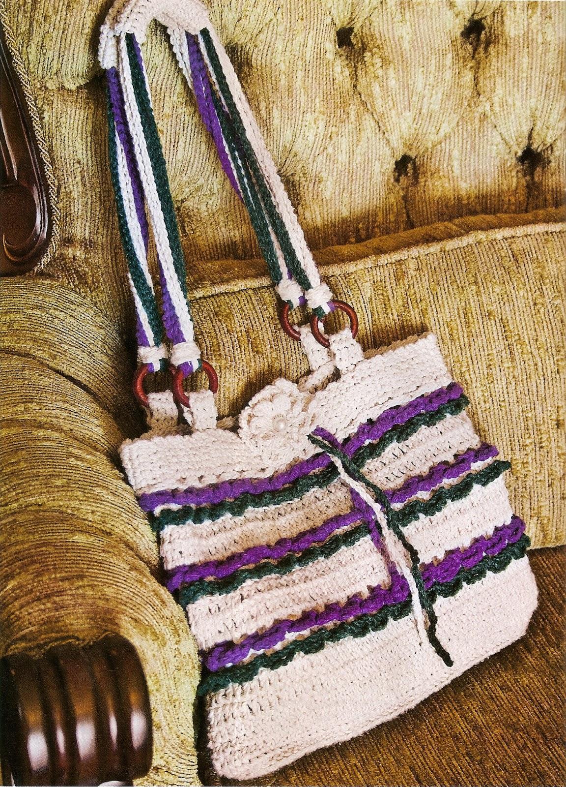 bolsas listras roxo verde cru flores croche com receita aprender croche