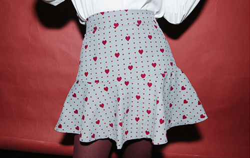 Heart and Dot Print Pleat Skirt