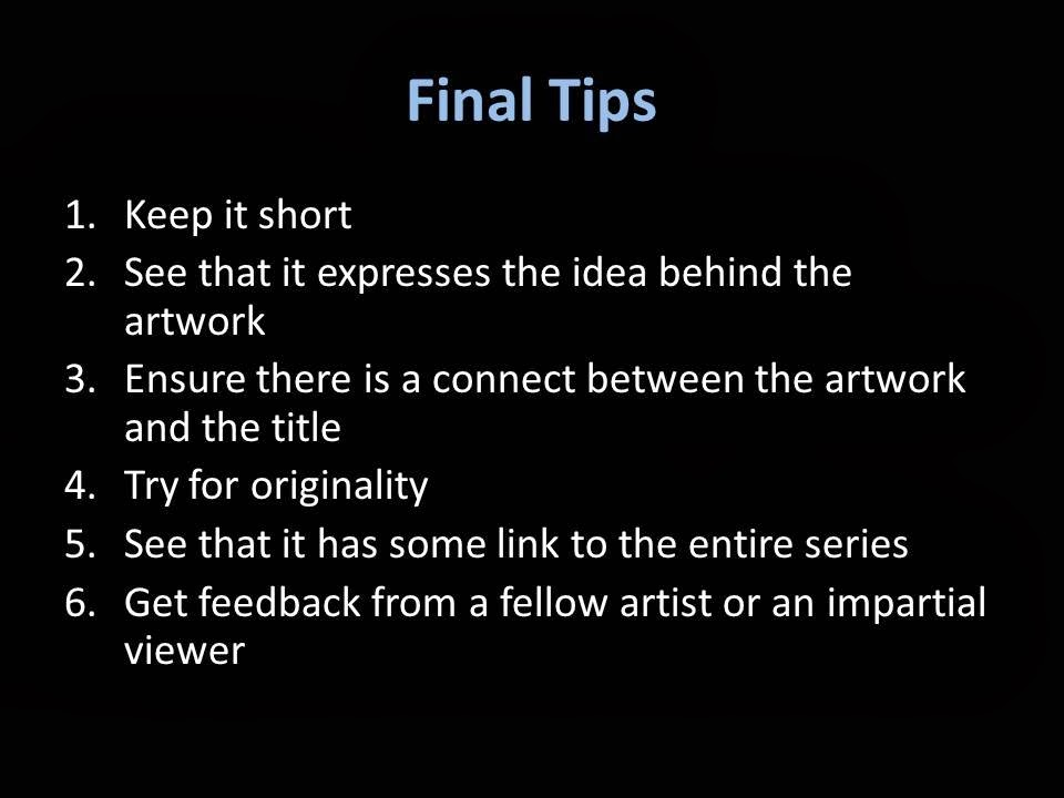 Tips on How to Title an Artwork, Image http://www.artsceneindia.com/
