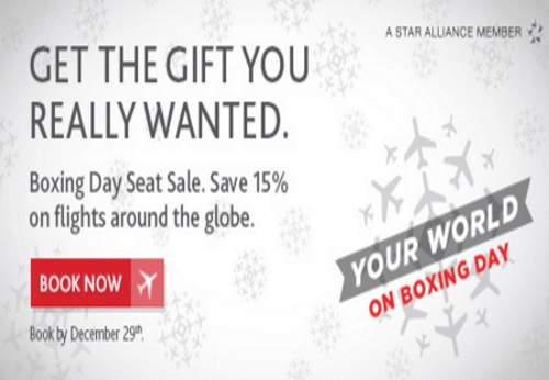 Air Canada Boxing Day Seat Sale 15% Off Flights Worldwide