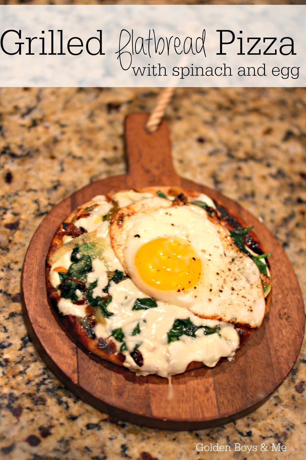Grilled Flatbread Pizzas with spinach and egg-www.goldenboysandme.com