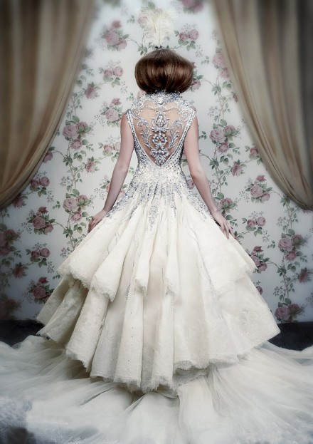 Luxury winter wedding dress idea with silver beading for Silver dresses to wear to a wedding