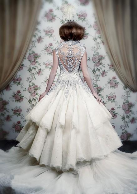 Luxury winter wedding dress idea with silver beading for Wedding dresses for winter