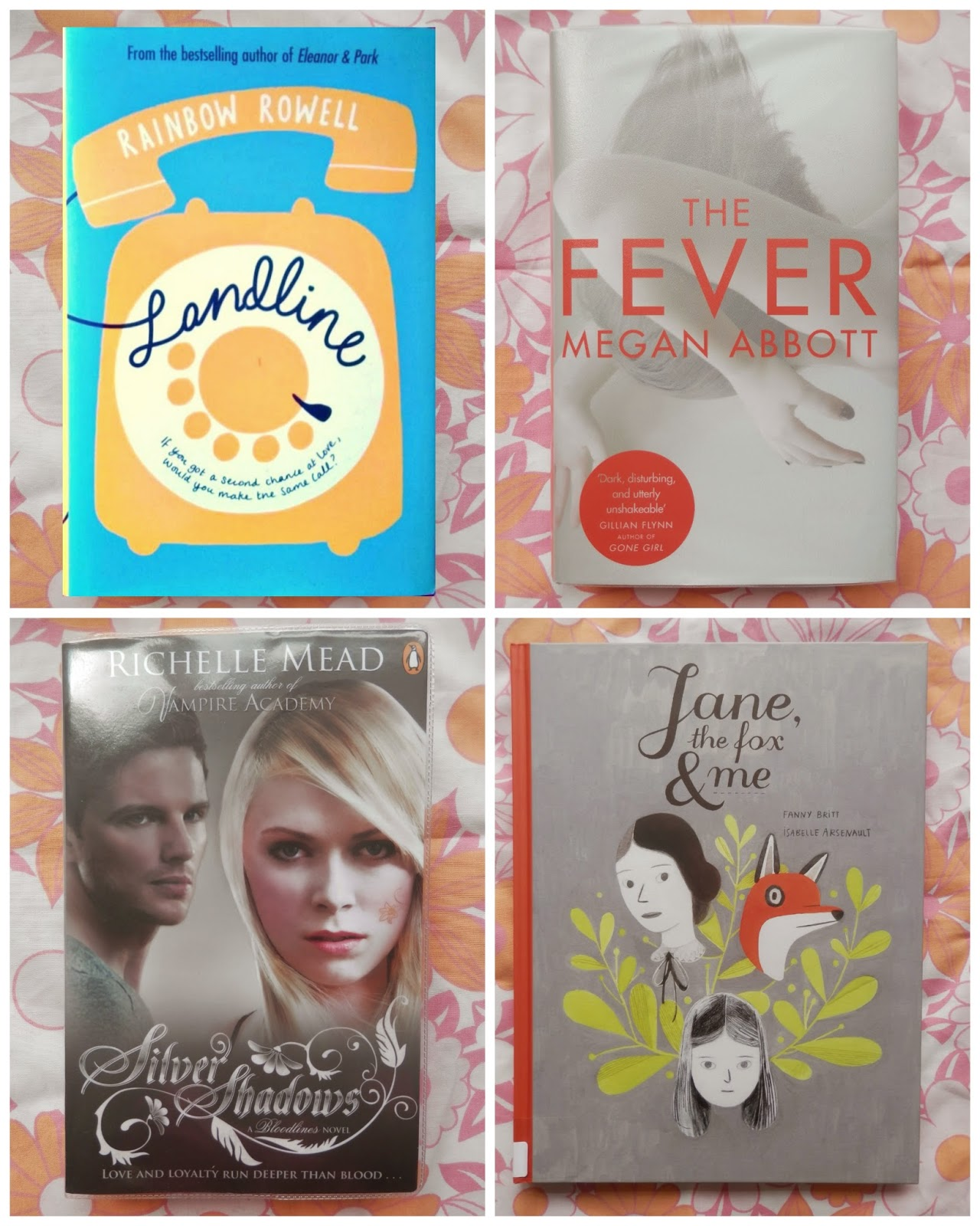 Lovely library books.  Landline The Fever Silver Shadows Jane the Fox and me.